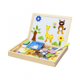 Magnetic Jigsaw Puzzle Two-sided Whiteboard And Blackboard Educational Wooden Toy