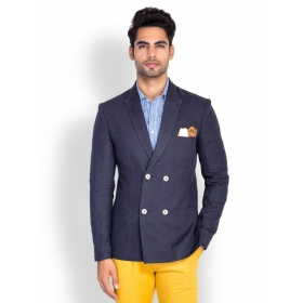Navy Blue Linen Double Breasted Blazer
