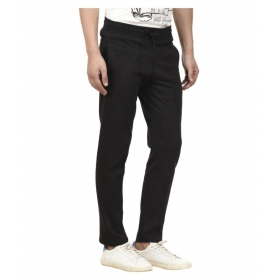 Black Cotton Trackpants
