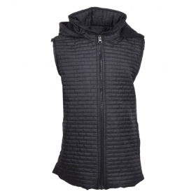 Black Polyester Sleevesless Jacket