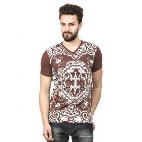 Brown V-neck T-shirt