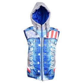 Denim Blue Polyester Jacket