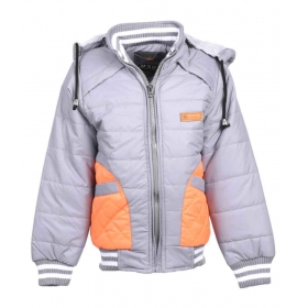 Gray Quilted Full Sleeve Jacket For Boys