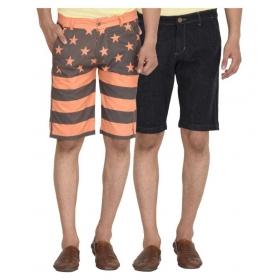 Multi Shorts Black & Orange Combo Of Two Shorts