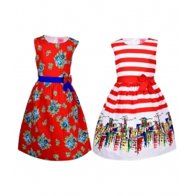 Multicolour Cotton Frock For Girls (pack Of 2)