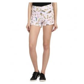Pink Cotton Lycra Hot Pants