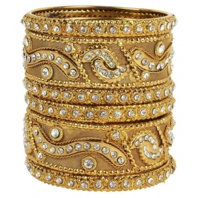18k Antique Gold Plated Kada Metal Bangles Set For Women