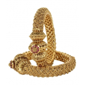 Fabulous Gold Tone Polki Bangles Traditional Partywear Jewelry