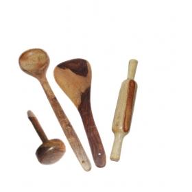 Desi Karigar Wooden 2 Ladles, 1 Masher & 1 Rolling Pin