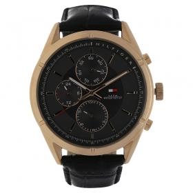 Black Dial Leather Strap Watch (nath1791125j)