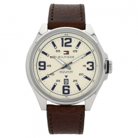 Beige Dial Leather Strap Watch (nath1791207j)