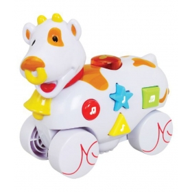 Musical Roll Along Cow Playmates,white/green/yellow
