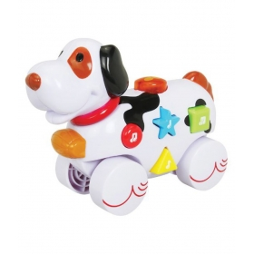 Musical Roll Along Dog Playmates, White/green/yellow