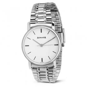 Sonata White Dial Metal Strap Watch (nd1013sm01c)