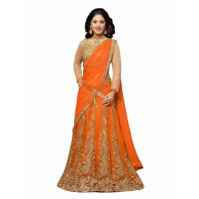 Orange Net Semi Stitched Lehenga