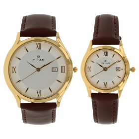 Silver Dial Leather Strap Watch (nf19592959yl01)