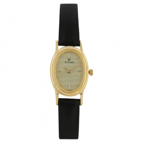 White Dial Leather Strap Watch (nf2061yl02)