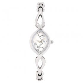 Silver Dial Brass Strap Watch (nf2455sm01)