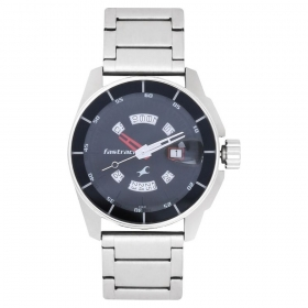 Black Dial Stainless Steel Strap Watch (nf3089sm03)