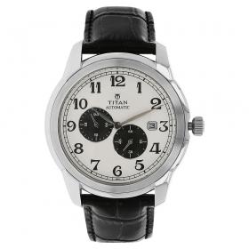 Titan White Dial Automatic Watch For Men (nh90033sl01j )