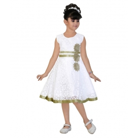 Sleeveless Golden Border White Frock