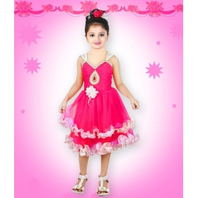 Pink Net Frock For Girls