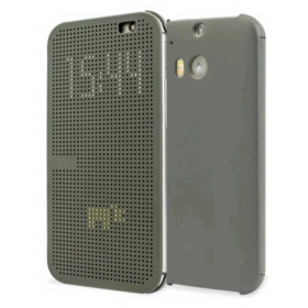 Norby Premium Dot View Smart Interactive Flip Case Cover For Htc One M8/m8 Eye-grey