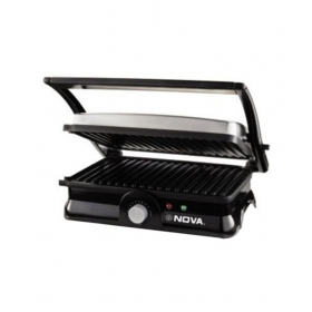 Nova Ngs 2451 3 In 1 Panini Grill Press With Adjustable Temperature - Black And Silver