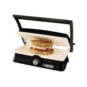 Nova Ngs 2455 3 In 1 Panini Grill Press With Adjustable Temperature And Ceramic Coating - Black And White