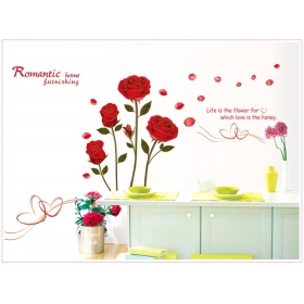 Ay6005 Red Roses  Flower Wall Sticker  Jaamso Royals