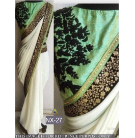 Superb Georgette White Saree