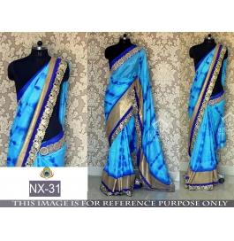 Peachy Satin Silk Blue Saree