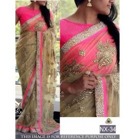Pretty Net Pink Saree