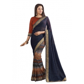 Indian Women's Heavy Embroidered Wedding Saree Bollywood Party Wear Saree Odip2010