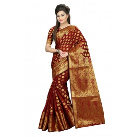 Odin Paris Green With Georgette Printed Lace Work Saree With Blouse Piece