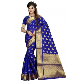 Odin Paris Blue Georgette Printed Lace Work Saree With Blouse Piece