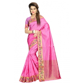 Odin Paris Multicolor Georgette Printed Lace Work Saree With Blouse Piece