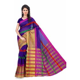 Special Pushpanjali Saree 3294 Blue & Orange Embroidered Half & Half Saree