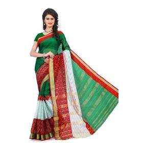 Special Pushpanjali Saree 3295 Green & Beige Embroidered Half & Half Saree