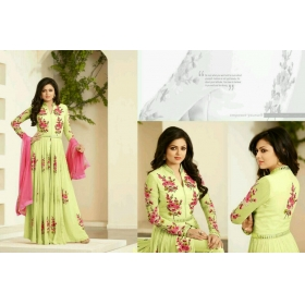 Odin Paris Embroidered Georgette Semi Stitched Gown With Dupatta