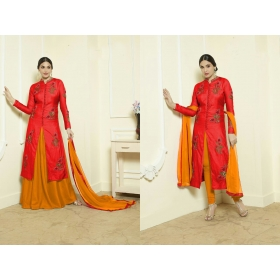 Odin Paris Designer Lightpink And  Gless Cotton Embroidered Skirt Type Salwar Suit