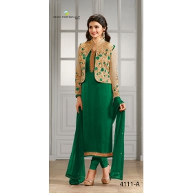 Odin Paris Designer Green And Gold Georgette With Siqwans Emb.work Suit