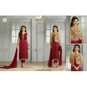 Odin Paris Designer Maroon And Gold Georgette With Siqwans Emb.work Suit