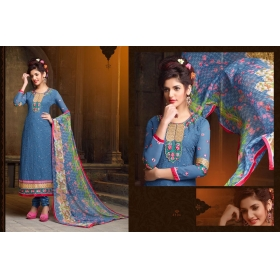 Odin Paris Special Desginer Blue Embroidered Georgette Straight Salwar Suit