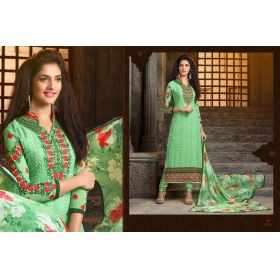 Odin Paris Special Desginer Green Embroidered Georgette Straight Salwar Suit