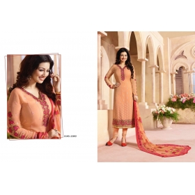 Odin Paris Special Desginer Orenge Embroidered Georgette Straight Suit With Printed Duppta