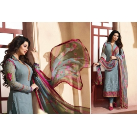 Odin Paris Special Desginer Blue Embroidered Georgette Straight Suit With Printed Duppta