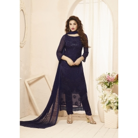 Odin Parissepcial New Designer 2202 Navy Blue Embroidered Pure Chiffon Straight Suit