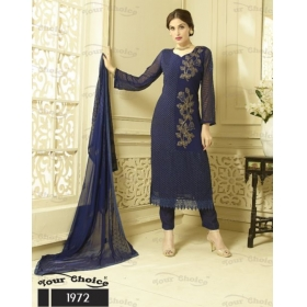 Odin Parissepcial New Designer  Navy Blue Embroidered Pure Chiffon Straight Suit
