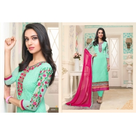 Odin Paris Designer Lightorange Schiffly Georgette With Embroidery Work  Salwar Suit